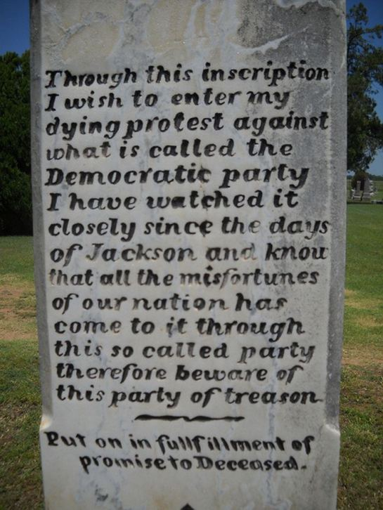 Democrat Party Warning By Soldier In 1800s