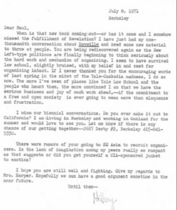 Hillary Letter To Saul Alinsky